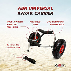 ABN Universal Kayak Carrier – Trolley for Carrying Kayaks, Canoes, Paddleboards, Float Mats, and Jon Boats