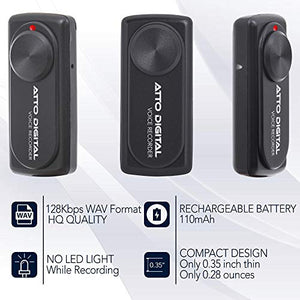 attodigit@l Small Voice Recorder with 20 Hours Battery Life | Ideal for Lectures, Meetings or Interviews | 141 Hours Capacity on 8GB | nanoREC by aTTo Digital nanoREC voice recorder 8GB 8GB Mini Voice Recorder nanoREC