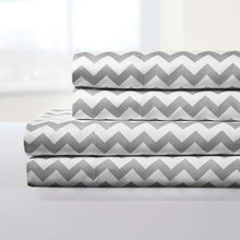 Load image into Gallery viewer, 1500 Supreme Collection Bed Sheets - Luxury Bed Sheet Set with Deep Pocket Wrinkle Free Hypoallergenic Bedding - 4 Piece Sheets - Chevron Print- King, Gray