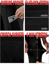 Load image into Gallery viewer, ODODOS Women's High Waist Yoga Pants with Pockets,Tummy Control,Workout Pants Running 4 Way Stretch Yoga Leggings with Pockets,Black,X-Small YogaPocketPants715-Black3-XS