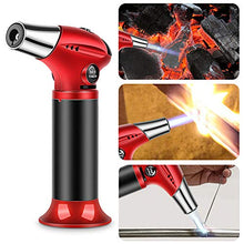 Load image into Gallery viewer, Tencoz Blow Torch, Professional Kitchen Cooking Torch with Safety Lock Adjustable Flame Refillable Mini Blow Torch Lighter for Crafts Cooking BBQ Baking Brulee Creme DIY Soldering Red