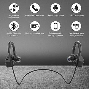 LETSCOM Bluetooth Headphones IPX7 Waterproof, Wireless Sport Earphones, Hifi Bass Stereo Sweatproof Earbuds W/Mic, Noise Cancelling Headset for Workout, Running, Gym, 8 Hours Play time, BlackGray U8I 3.94 x 3.94 x 1.85 in