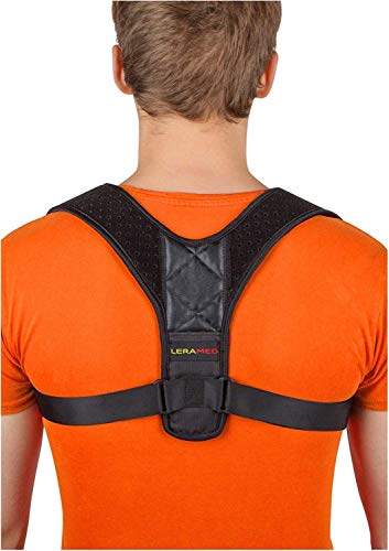 Leramed [New 2020] Posture Corrector for Men and Women - Adjustable Upper Back Brace for Clavicle Support and Providing Pain Relief from Neck, Back and Shoulder (Chest Size 25