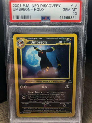 POKEMON PSA 10 GEM MINT UMBREON NEO DISCOVERY UNLIMITED HOLO RARE 13/75 CARD