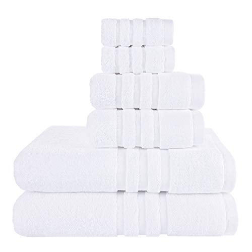 Josmon Towel Sets, 100% Cotton Bath Towels Set 6 Pieces for Bathroom, Luxury Highly Absorbent Hotel Spa Gym 2 Bath Towels 2 Hand Towels 2 Washcloths, White