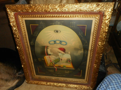 RARE ANTIQUE FRAMED ODD FELLOWS ORDER ''OUR MOTTO''1883 LITHO GREAT FRAME 30X27