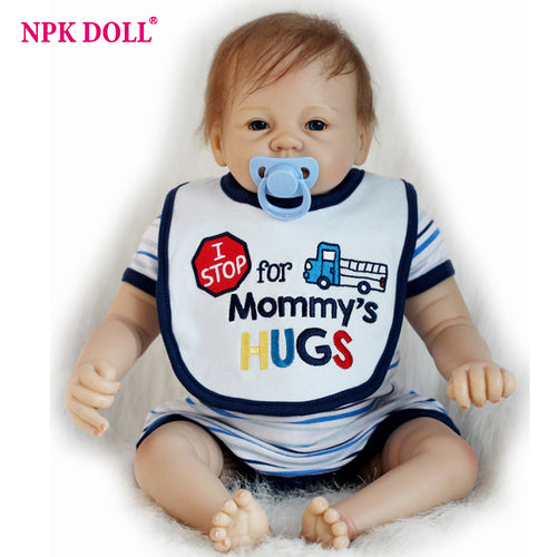 55 cm Real Looking Baby Dolls Boneca Reborn Boy Bebe Doll Blue Eyes Silicone Vinly Dolls Children Birthday Gift