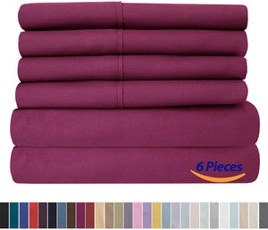Sweet Home Collection Quality Deep Pocket Bed Sheet Set - 2 EXTRA PILLOW CASES, VALUE, Queen, Berry, 6 Piece