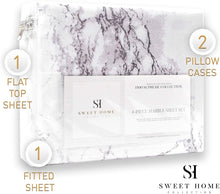 Load image into Gallery viewer, 1500 Supreme Collection Extra Soft Marble Print 4-Piece Sheet Set- Luxury Bed Sheets Set with Deep Pocket Wrinkle Free Hypoallergenic Bedding, California King Size