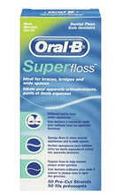 Load image into Gallery viewer, Oral-B Super Floss Mint Dental Floss for Braces Bridges - 50 Strips ( Packs 3 ) Oral-Super3-ART