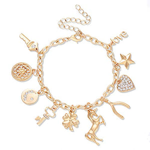 CEALXHENY Women's Charm Bracelet Polished Unicorn Star Clover Drops Rhinestone Paved Heart Pendant Bangle Bracelets (Gold) B07CZF2Q17_US A Gold