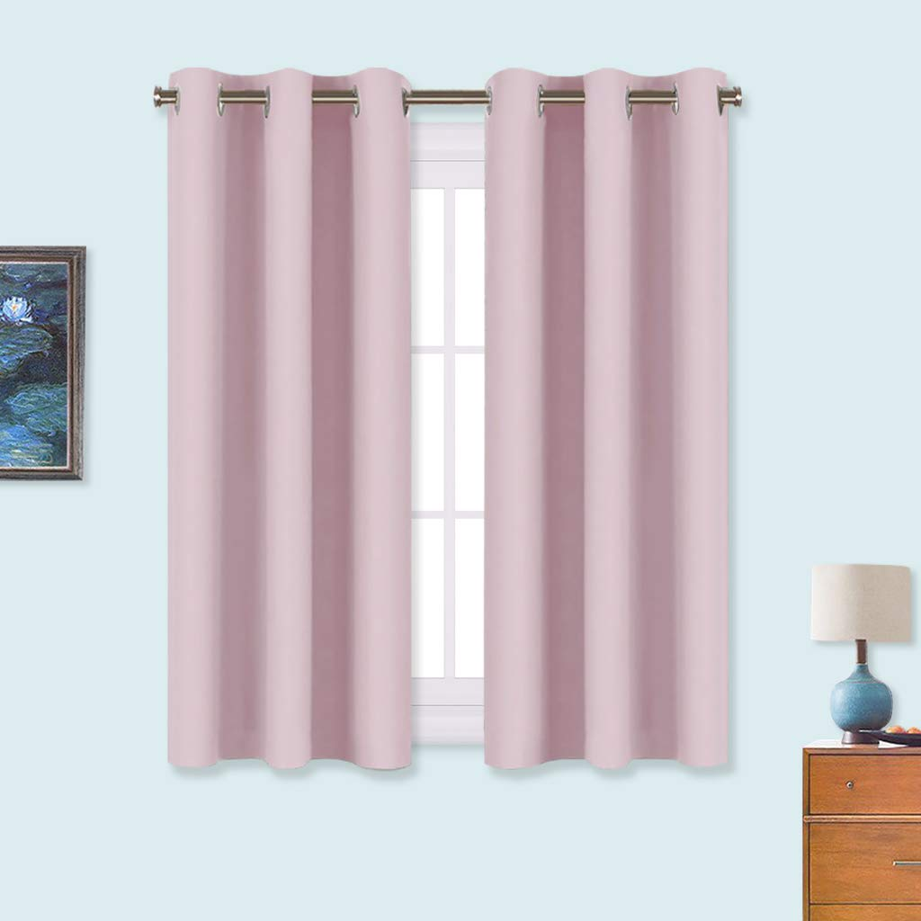 NICETOWN Blackout Draperies Curtains for Girls Room, Nursery Essential Thermal Insulated Grommet Top Blackout Panels (Lavender Pink, 1 Pair, 34 x 54 inches)