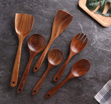Load image into Gallery viewer, Kitchen Utensils Set, Wooden Cooking Utensil Set Non-stick Pan Kitchen Tool Wooden Cooking Spoons and Spatulas Wooden Spoons for cooking salad fork