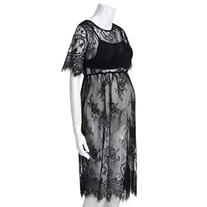 Yihaojia Maternity Clothes Maternity Clothes Short Sleeve Women Sexy Lace Dress Pregnancy See-Through Fancy Pregnancy Photography (S, Black) Small
