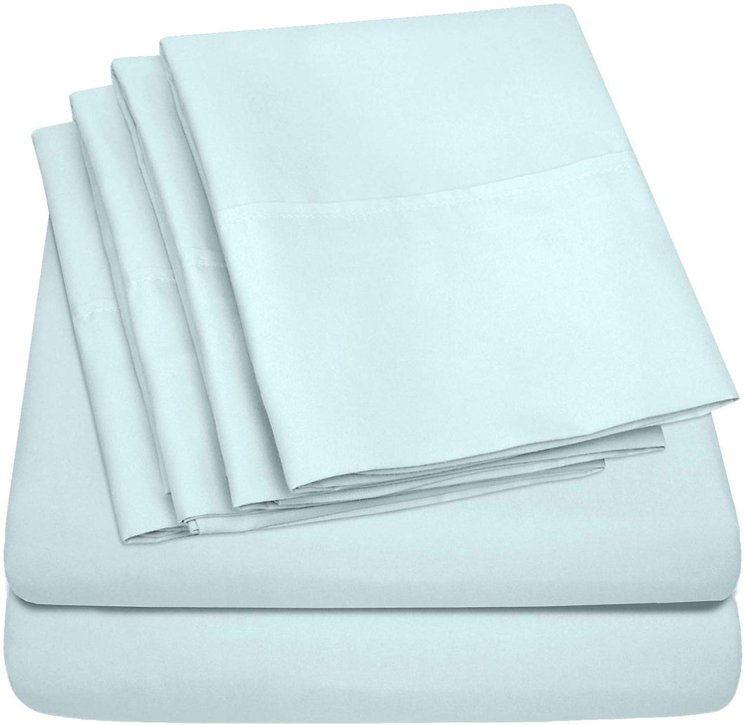 Cal King Size Bed Sheets - 6 Piece 1500 Thread Count Fine Brushed Microfiber Deep Pocket California King Sheet Set Bedding - 2 Extra Pillow Cases, Great Value, California King, Aqua