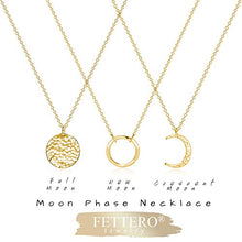 Load image into Gallery viewer, Fettero Necklace for Women Dainty Handmade 14K Gold Fill Carved Full Round Moon Phase Pendant Wafer Chain Minimalist Jewelry B077MXLJFD_US