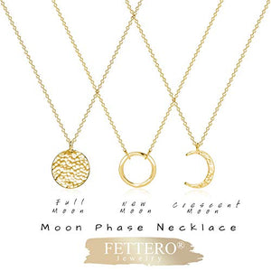 Fettero Necklace for Women Dainty Handmade 14K Gold Fill Carved Full Round Moon Phase Pendant Wafer Chain Minimalist Jewelry B077MXLJFD_US