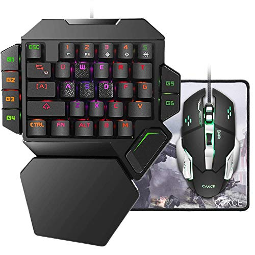 Cakce One Hand Gaming Keyboard and Mouse Combo,RGB Mechanical Gaming Keyboard and Mouse,Backlit Gaming Keyboard with Wrist Rest,USB Wired Mechanical Keyboard and Mouse for Game