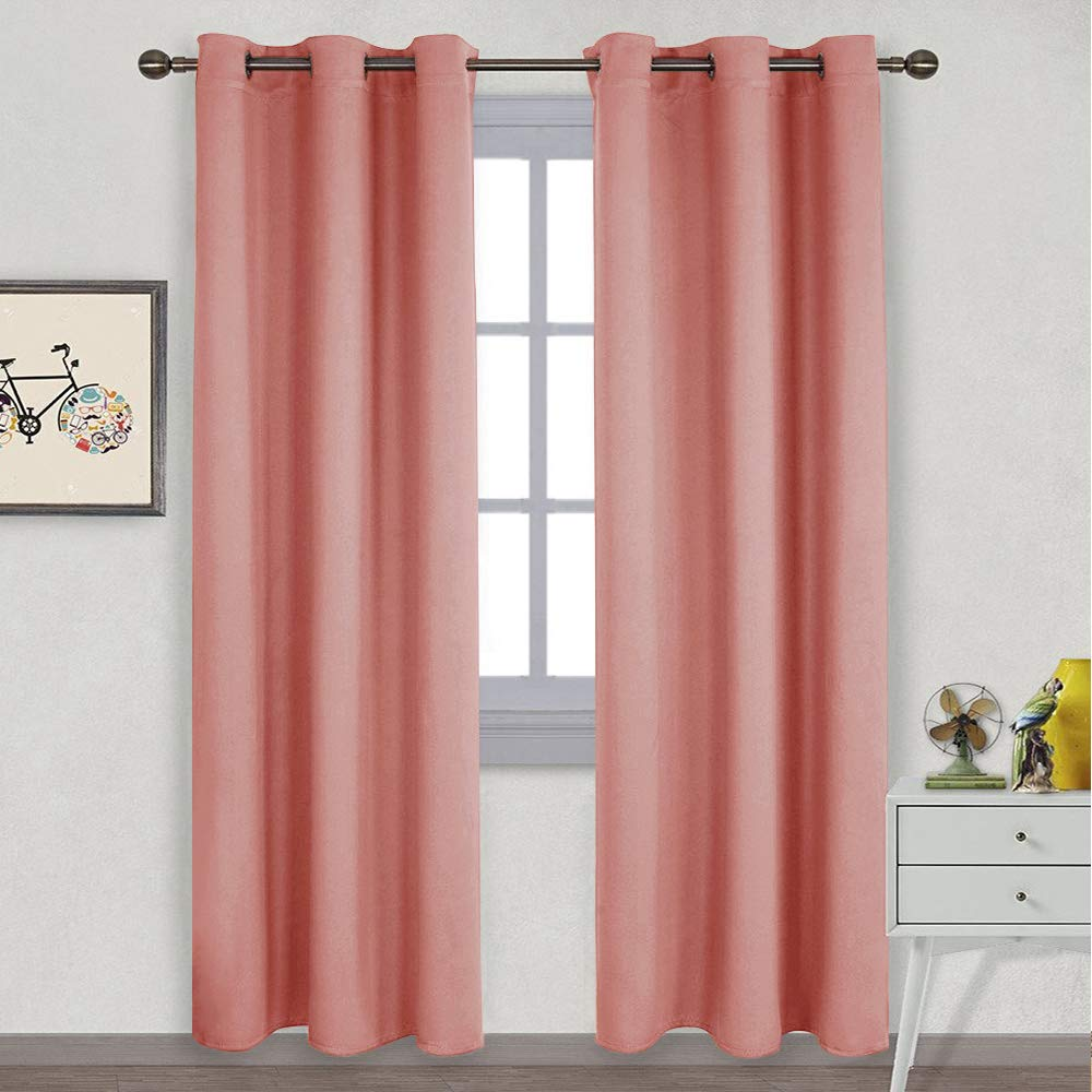 NICETOWN Energy Smart Thermal Insulated Solid Ring Top Room Darkening Curtains/Drapes for Bedroom (Coral, 2 Pieces, 42 x 84 Inch)