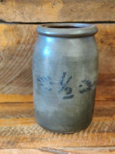 Load image into Gallery viewer, Rare Primitive 1/2 Gallon West Va. Stoneware Canning Jar Cobalt Blue Decor