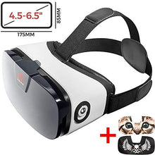 "Load image into Gallery viewer, VR Headset - Virtual Reality Goggles by VR WEAR 3D VR Glasses for iPhone 6/7/8/Plus/X & S6/S7/S8/S9/Plus/Note and Other Android Smartphones with 4.5-6.5"" Screens + 2 Stickers"