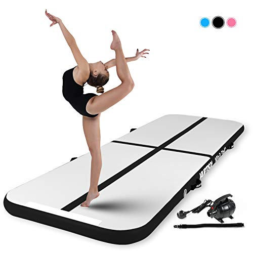 Murtisol 13ft Inflatable Gymnastics Training Mats Tumbling Mats 4 Inch Thickness for Home Use/Training/Cheerleading/Yoga/Water with Electric Pump Black 13'(3.3')4