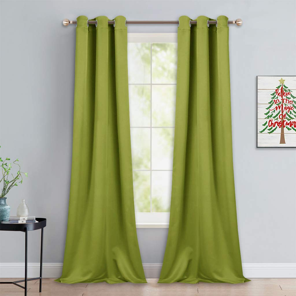 NICETOWN Room Darkening Window Panels - Fresh Green Thermal Insulated Curtains 90 inches Length for Christmas Bedroom (42 inches Width, Double Pieces)