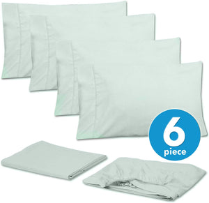 Sweet Home Collection Bed 6 Piece 1500 Thread Count Deep Pocket Sheet Set - 2 EXTRA PILLOW CASES, VALUE, Queen, Mint