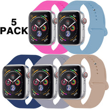 Load image into Gallery viewer, GZ GZHISY Pack 5 Sport Bands Compatible for Apple Watch Band 38mm 40mm 42mm 44mm, Soft Silicone Band Sport Strap Compatible for iWatch Series 5/4/3/2/1