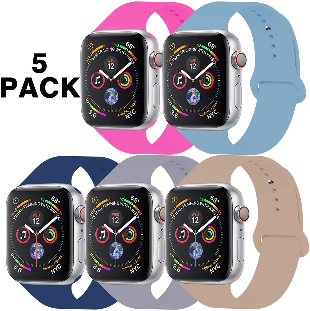 GZ GZHISY Pack 5 Sport Bands Compatible for Apple Watch Band 38mm 40mm 42mm 44mm, Soft Silicone Band Sport Strap Compatible for iWatch Series 5/4/3/2/1
