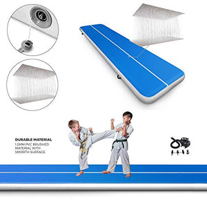 Happybuy 10ft 13ft 16ft 20ft 23ft 26ft 30ft Air Track 8 inches Airtrack 4 inches Inflatable Air Track Tumbling Mat for Gymnastics Martial Arts Cheerleading Tumble Track with Pump Blue 17ft 40x4in 17ft*3.3ft*4in(5x1x0.1m) Navy Blue