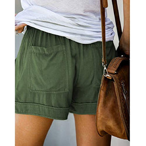 Aonember Womens Drawstring Elastic Waist Short Casual Summer Loose Beach Shorts with Pockets Small A-army Green