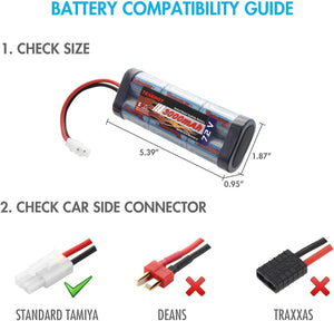 Tenergy 7.2V Battery Pack High Capacity 6-Cell 3000mAh NiMH Flat Battery Pack, Replacement Hobby Battery for RC Car, RC Truck, RC Tank, RC Boat with Standard Tamiya Connector
