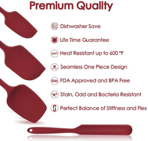 U-Taste 600ºF High Heat-Resistant Premium Silicone Spatula Set, BPA-Free One Piece Seamless Design, Non-Stick Rubber with 18/8 Stainless Steel Core, Cooking/Baking Utensil Set of 4(Red).