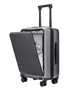 Domie NINETYGO Carry On Luggage with Spinner Wheels,20 Inch Hardside Lightweight Hardshell TSA Compliant Suitcase with Front Pocket Lock Cover Grey