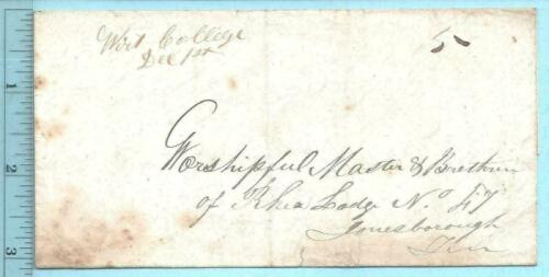 12/1/1845 Wirt College TN T Patterson Master Rhea Lodge #47 Jonesborough RARE