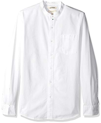 Goodthreads Men's Slim-Fit Long-Sleeve Band-Collar Oxford Shirt, -white, Large GT181146FL18