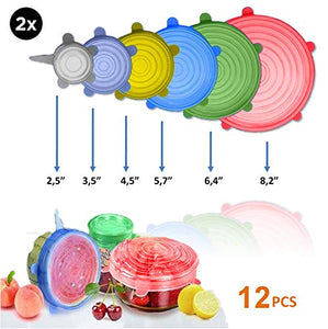"fabquality Silicone Stretch Lids 12pcs XXL, Metal Drinking Straw + 2 Gift bags, Various Sizes and Shape of Containers, Reusable, Durable + Expandable Food Covers, Keeping Food Fresh, Dishwasher 8541995344 (2.8"", 3.7"",4.5"", 5.7"",6.5"" and 8.3"") Red, Green, Blue, Yellow, Purple, White"
