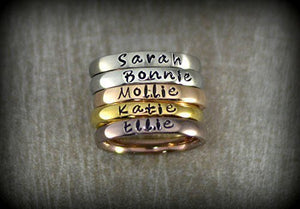Simple Xpressions Personalized Stackable Name Ring - Stacking Rings - Matte, Shiny, Rose Gold, Gold and Coffee Colors - 3mm Width Matte - Shiny - Rose Gold - Gold - Coffee