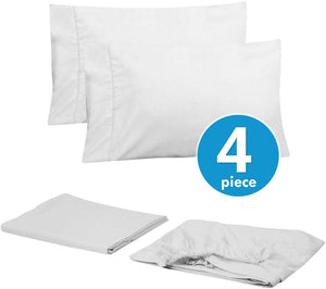 Sweet Home Collection Twin Size Bed 4 Piece 1500 Thread Count Fine Brushed Microfiber Deep Sheet Set-2 EXTRA PILLOW CASES, VALUE, White