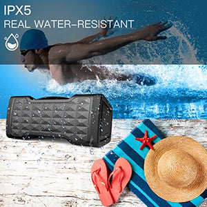 Oraolo M91 Bluetooth Speakers, Waterproof Wireless Speaker with Bluetooth, 24W Stereo Sound, Built-in Mic, 20 Hours Playtime Outdoor Speakers 10.9×4.7×4.9 in Black