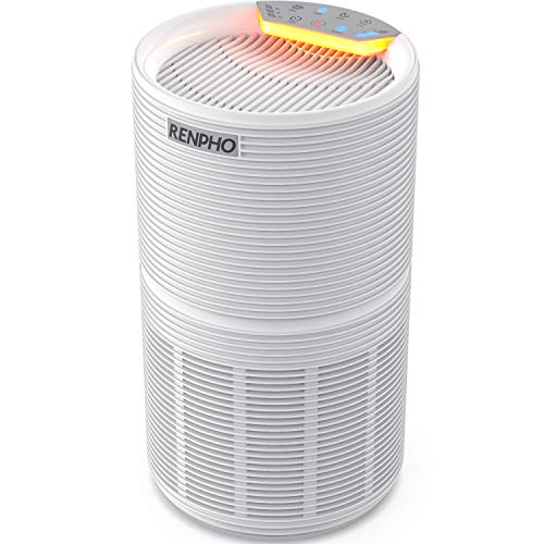 RENPHO Air Purifier for Allergies and Pets Hair with HEPA Filter, Home Large Room 220 SQ.FT, Quiet Compact Air Cleaner Odor Eliminators in Bedroom for Mold, Smoke, Germ, Dust and Pollen, Night Light RP-AP088W White H13 Hepa 220 Sq.ft