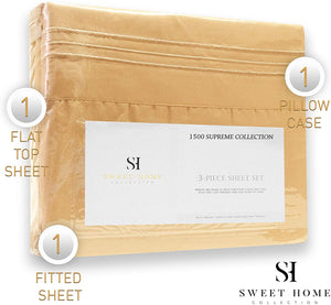 1500 Supreme Collection Extra Soft Twin XL Sheets Set, Camel - Luxury Bed Sheets Set with Deep Pocket Wrinkle Free Hypoallergenic Bedding, Over 40 Colors, Twin XL Size, Camel
