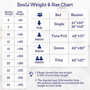 ZonLi King Size Weighted Blanket 20lbs(80''x87'', Grey/Black), King Weighted Blanket for Adults, 100% Cotton Material with Glass Beads