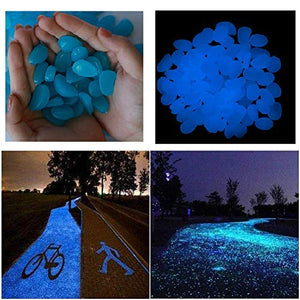 Stymx 170pcs Glow Stones, Rocks for Yard Aquarium Fish Tank Aquarium Decorations Pebbles Glow Stone Rocks (Blue)
