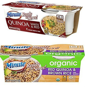 Minute Ready to Serve Organic White & Red Quinoa + Organic Red Quinoa & Brown Rice , 2 Cups (Pack of 4)