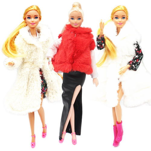 Fur Coat Dress Outfit Set for 1:6 BJD SD Doll Clothes Accessories Play House Dressing Up Costume