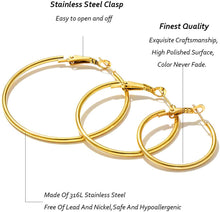 Load image into Gallery viewer, Cocamiky 9 Pairs Big Gold Silver Rose Gold Plated Hoop Earrings Set for Women Girls Stainless Steel Earrings Hypoallergenic Fashion Jewelry Gift (25/40/60mm)