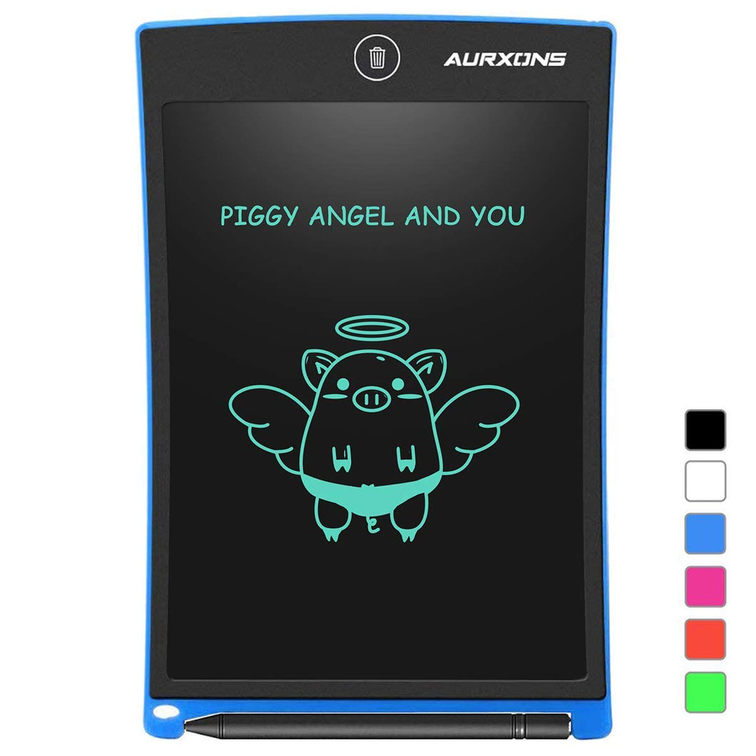 AURXONS LCD Writing Tablet Electronic Writing Drawing Doodle Board Erasable 8.5-Inch Handwriting Paper Drawing Tablet for Kids Adults at Home School Office Blue