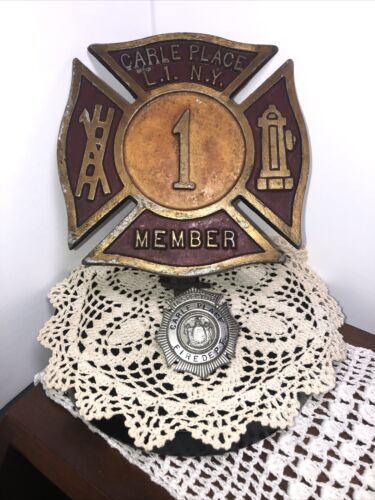 RARE ESTATE FIND ~ LONG ISLAND FIRE DEPARTMENT TRUCK BADGE AND SHIRT BADGE~ FDNY